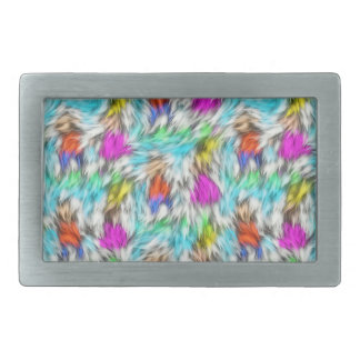 Colorful White Leopard Fur Pattern Rectangular Belt Buckle