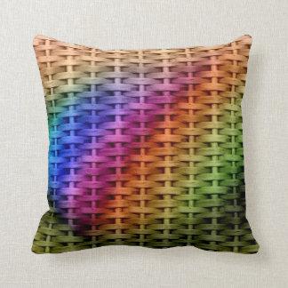 Colorful wicker retro graphic design throw pillow