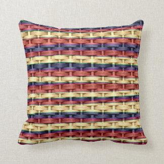Colorful wicker retro stripes graphic design pillow