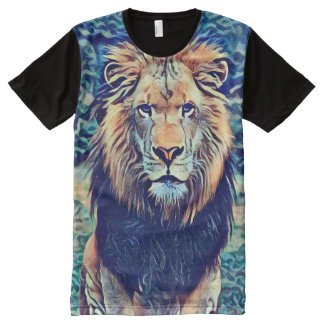 Colorful Wild African Lion Fantasy Art All-Over Print T-Shirt