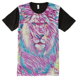 Colorful Wild Lion Visual Medium Art All-Over Print T-Shirt