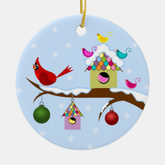 Colorful Winter Birds Round Ornament