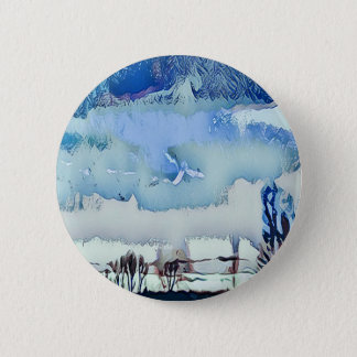Colorful Winter Blue Abstract Horizon Sky 6 Cm Round Badge