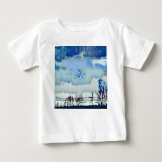 Colorful Winter Blue Abstract Horizon Sky Baby T-Shirt