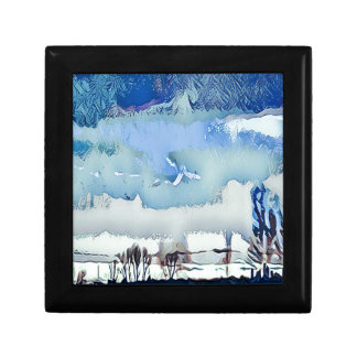 Colorful Winter Blue Abstract Horizon Sky Gift Box