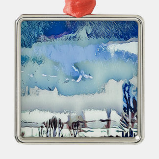 Colorful Winter Blue Abstract Horizon Sky Metal Ornament