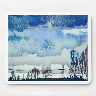 Colorful Winter Blue Abstract Horizon Sky Mouse Pad