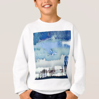 Colorful Winter Blue Abstract Horizon Sky Sweatshirt