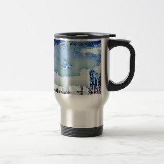 Colorful Winter Blue Abstract Horizon Sky Travel Mug