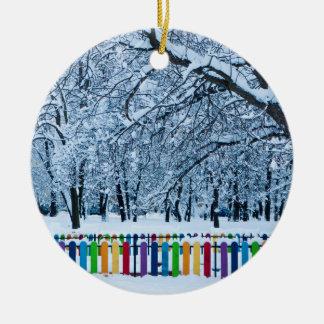Colorful Winter Fence Ceramic Ornament