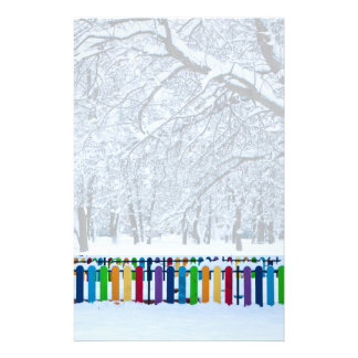 Colorful Winter Fence Stationery