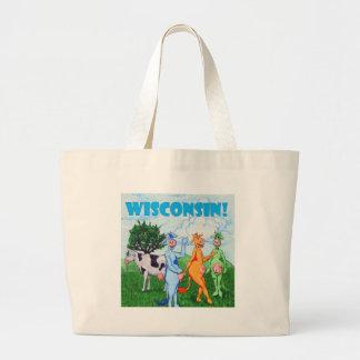 Colorful wisconsin Cows Jumbo Tote Bag