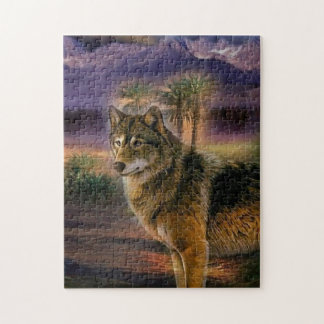 Colorful wolf in the forest puzzles