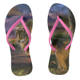Colorful wolf in the forest thongs