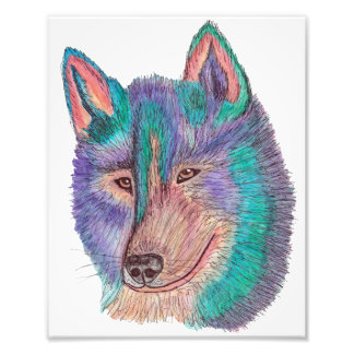 Colorful Wolf Watercolor Sketch Photo Print