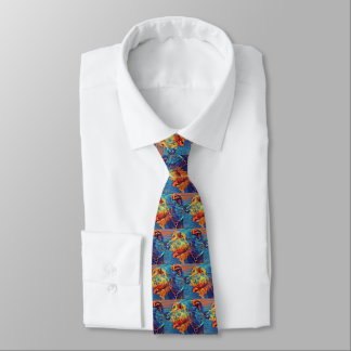 Colorful Wolfhound Profile Mens Tie - Medium image