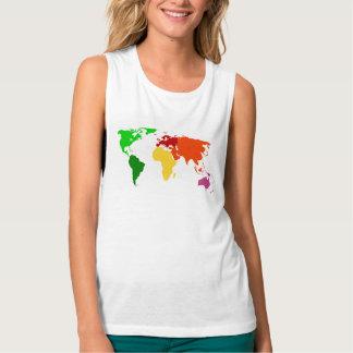Colorful Women's World Globe Muscle Tank Top