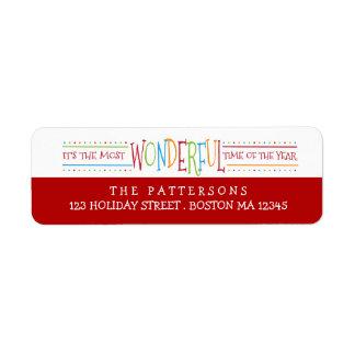 Colorful Wonderful Christmas Address Label
