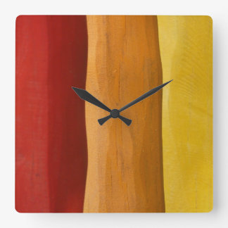 colorful wood design red orange yellow spectrum square wall clock