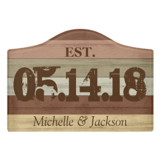 Colorful Wood - Est. Year and Name Door Sign