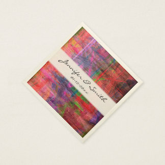 Colorful Wood Grain Modern Abstract Art #2 Paper Napkin