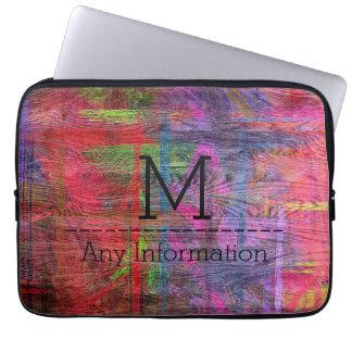 Colorful Wood Grain Texture Monogram #2 Laptop Computer Sleeve
