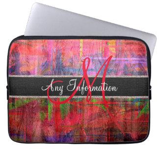 Colorful Wood Grain Texture Monogram Laptop Sleeves
