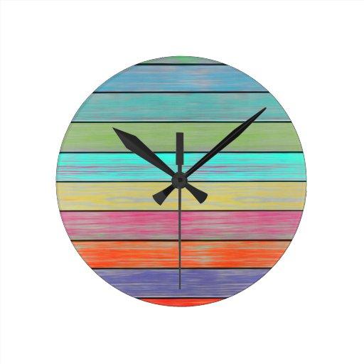 Colorful Wood Planks Round Clocks