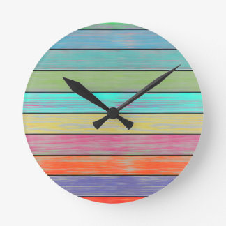 Colorful Wood Planks Wall Clock