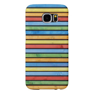 Colorful Wood Stripes Picture Samsung Galaxy S6 Cases