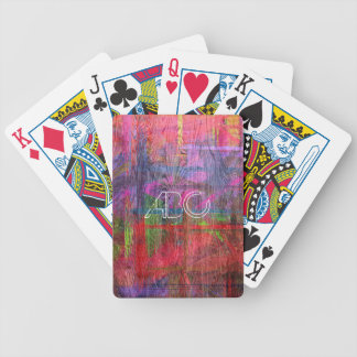 Colorful Wood Texture Monogram #2 Bicycle Playing Cards