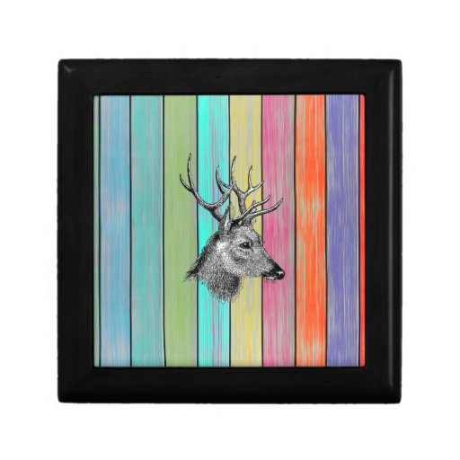 Colorful Wood Vintage Deer Head Trinket Box