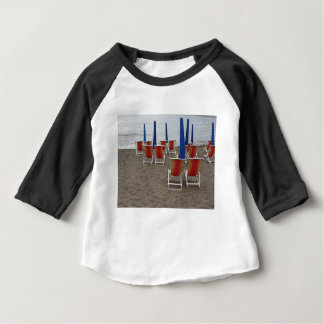 Colorful wooden chairs at sand beach baby T-Shirt