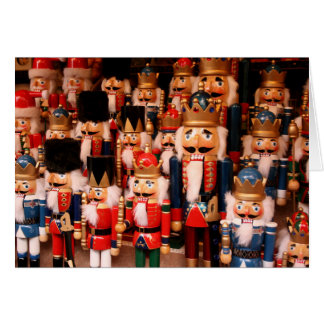 Colorful wooden nutcrackers greeting card
