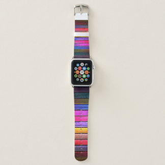 Colorful Wooden Planks Apple Watch Band