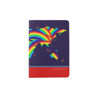 colorful world map, cool rainbow colors travel passport holder