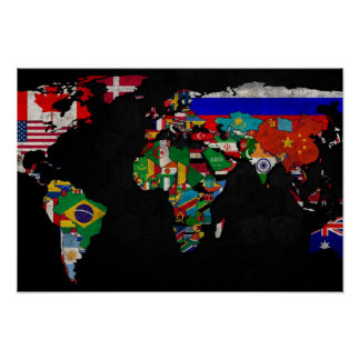COLORFUL WORLD MAP WITH FLAGS POSTER