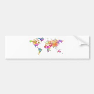 Colorful World Watercolor Splashes World Map Bumper Sticker