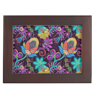 Colorful Worm Tones Retro Flowers Pattern Keepsake Boxes