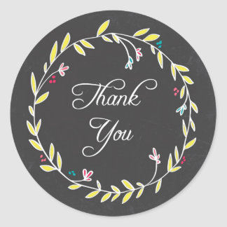 Colorful Wreath Chalkboard Thank You Stickers
