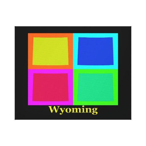 Colorful Wyoming Pop Art Map Stretched Canvas Print