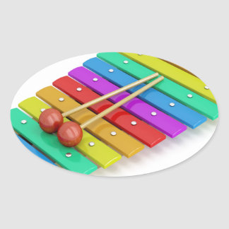 Colorful xylophone oval sticker