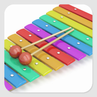 Colorful xylophone square sticker
