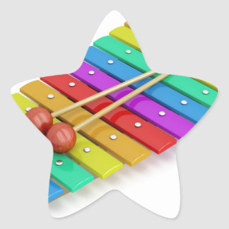 Colorful xylophone star sticker