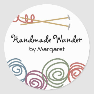 colorful yarn balls knitting needles gift tag s... round sticker