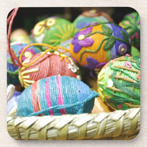 Colorful Yarn Decorated Easter Eggs Drink Coaster