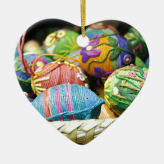 Colorful Yarn Decorated Easter Eggs Christmas Tree Ornaments