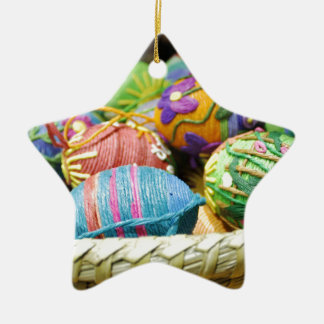 Colorful Yarn Decorated Easter Eggs Ornaments