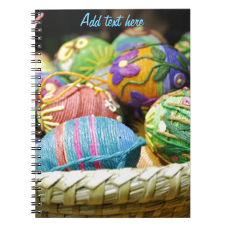 Colorful Yarn Decorated Easter Eggs Notebook