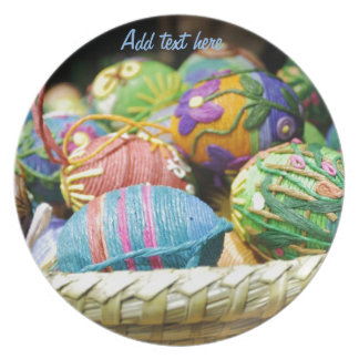 Colorful Yarn Decorated Easter Eggs Plate